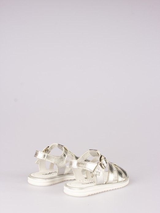 Hearts Detail Laminated Sandals