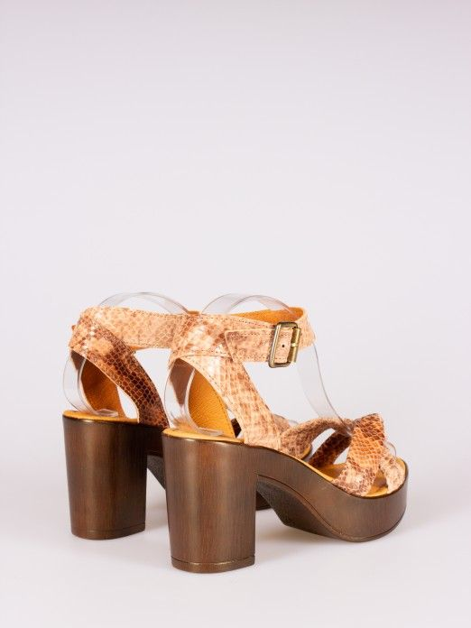 Knot Detail Animal-print Sandals