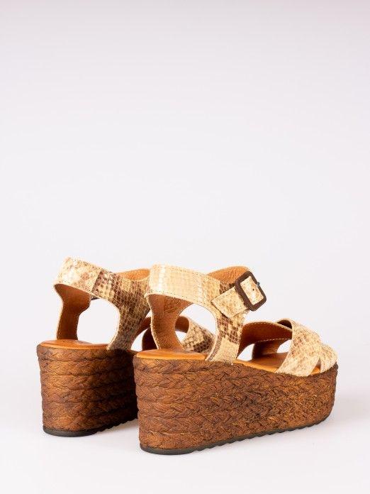 Animal-Print Wedge Sandals