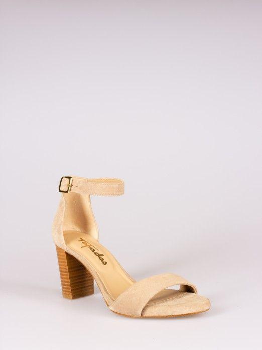 Wood Style Heel Sandals