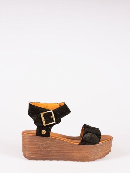 Suede Wedge Sandals