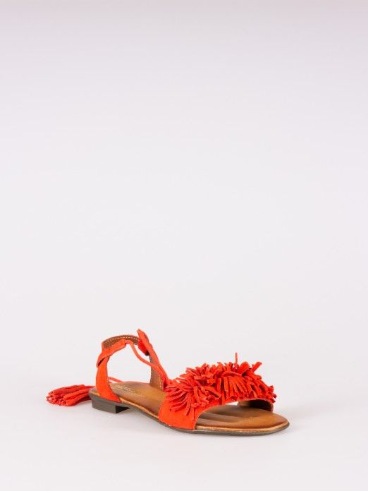 Flat Sandals with Fringes