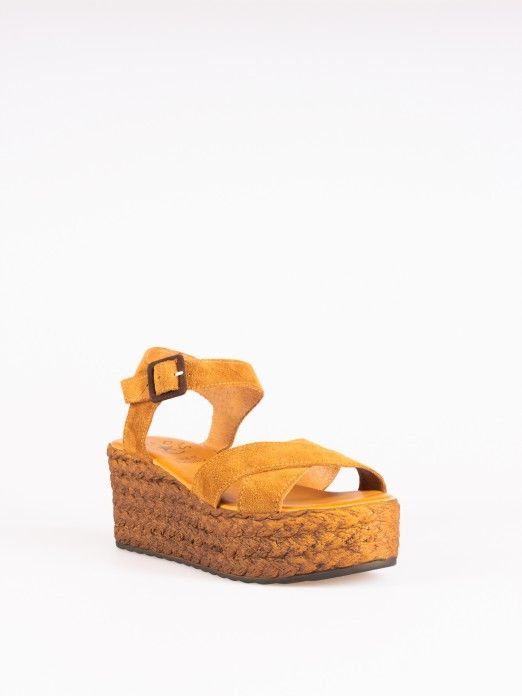 Suede Crossed Wedges