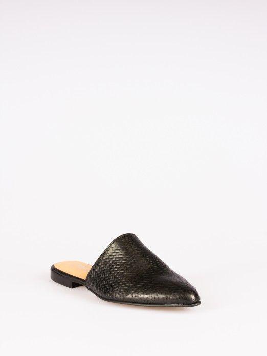 Laminated Crocodile-Effect Leather Mule