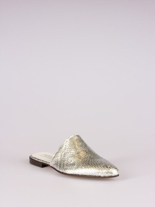 Laminated Crocodile-Effect Leather Mule