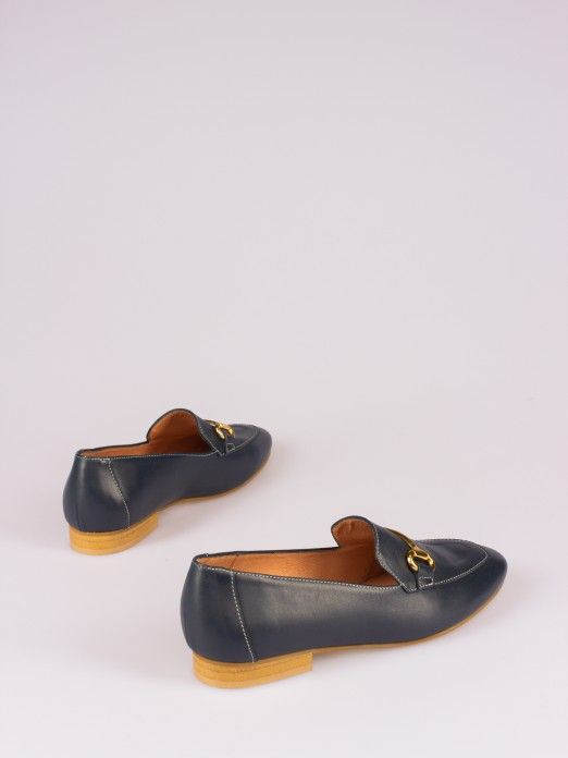Leather Loafers with Horsebit Detail