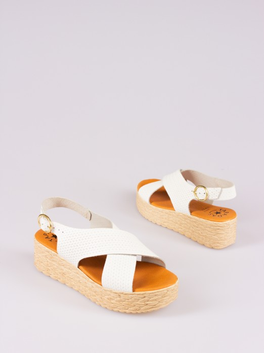 Wedge Sandal with Crossed Leather Straps