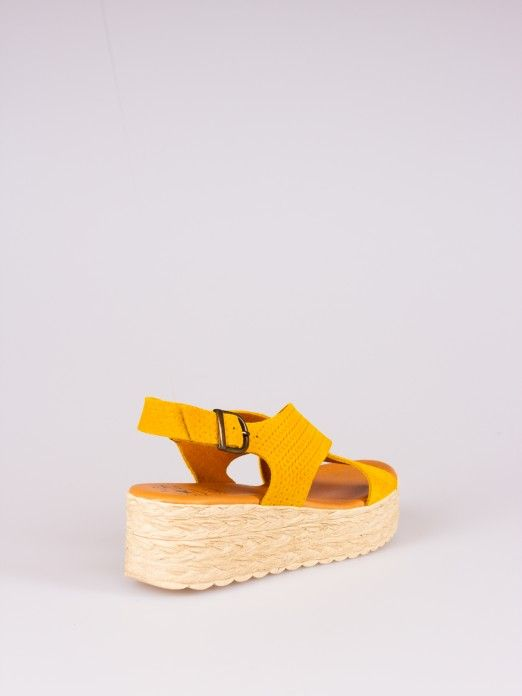 Wedge Sandal with Crossed Suede Straps