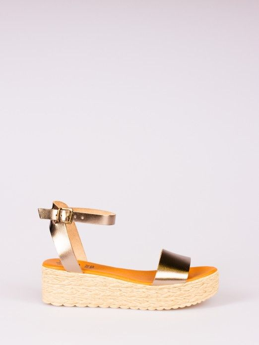 Laminated Leather Wedge Sandal