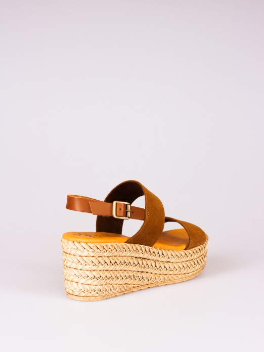 Suede and Leather Wedge Sandal