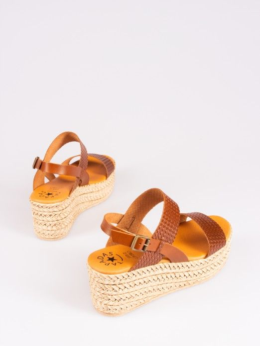 Braided Leather Wedge Sandal