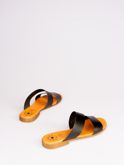Double Strap Leather Slipper