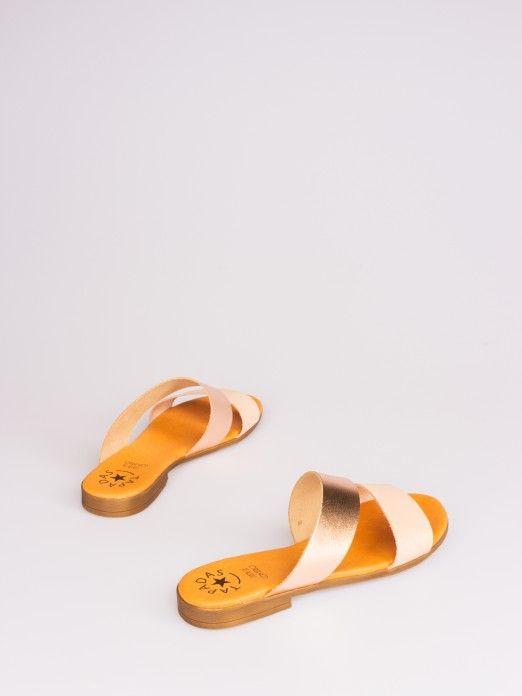 Double Strap Bicolor Leather Slipper
