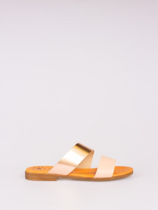Double Strap Bicolor Leather Slipper