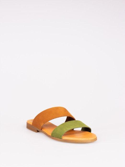 Double Strap Bicolor Suede Slipper