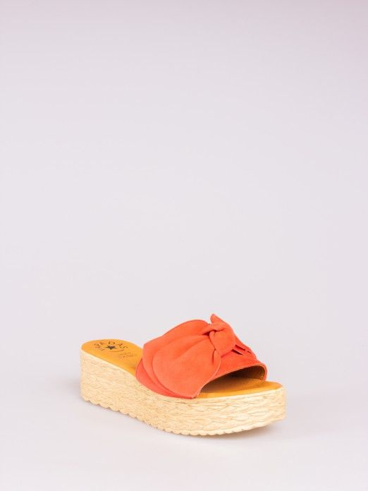 Suede Knot Wedge Clog