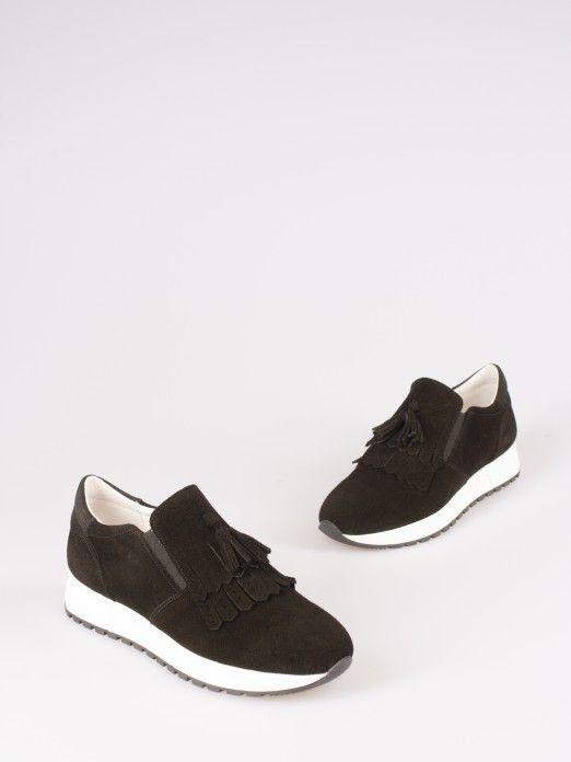Tassel-Embellished Suede Sneakers