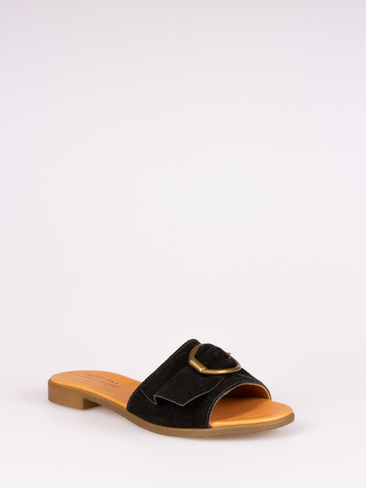 Suede Slipper with Metal Buckle