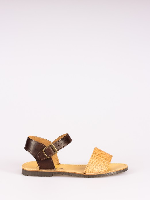 Leather and Raffia Strap Sandal