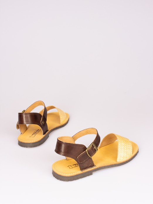 Leather and Raffia Strap Sandal