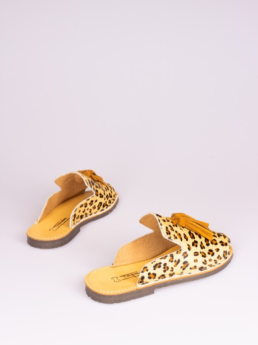 Leopard Mule with Tassel