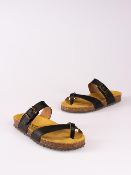 Leather Thong-Strap Bio Slipper