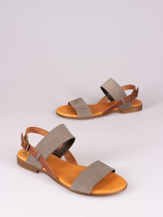 Sandália Bicolor em Camurça
