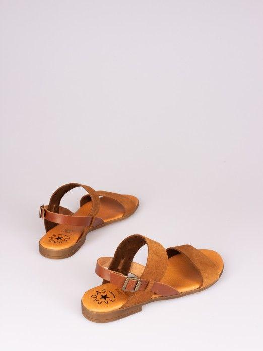 Bicolor Suede Sandal
