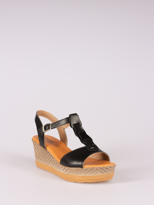 Leather Rings Wedge Sandal