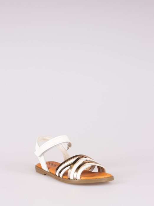 Crossed Straps Sandal with Velcro