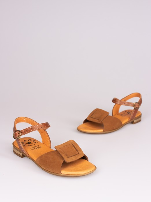 Suede and Leather Flat Sandal
