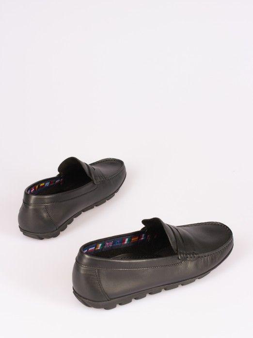 Sapato  Mocassim com Travessão em Pele