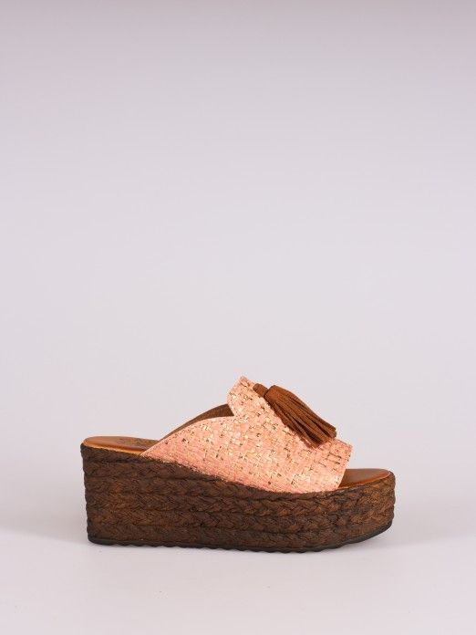 Shiny Wedge Clog with Tassel