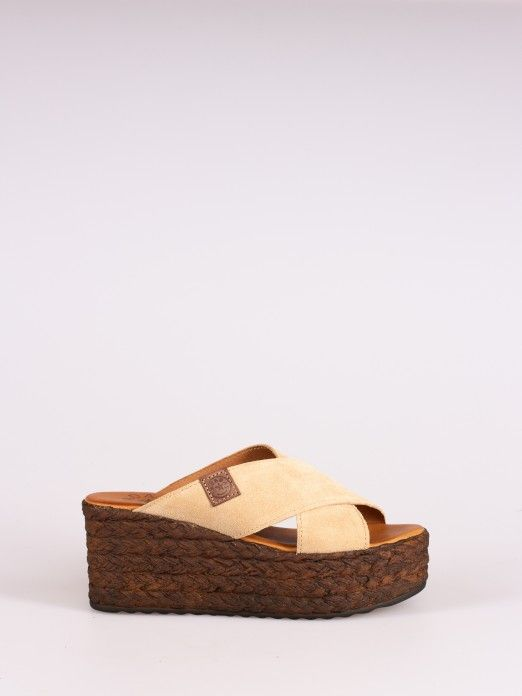 Suede Crossed Wedge Clog
