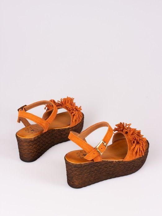 Pompom Suede Wedge Sandal