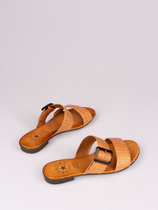 Raffia Double Strap Slipper