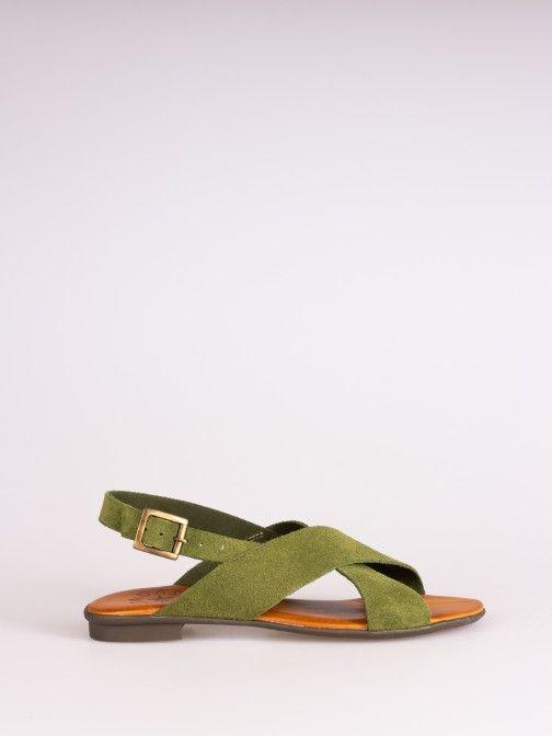 Crossed Suede Sandal