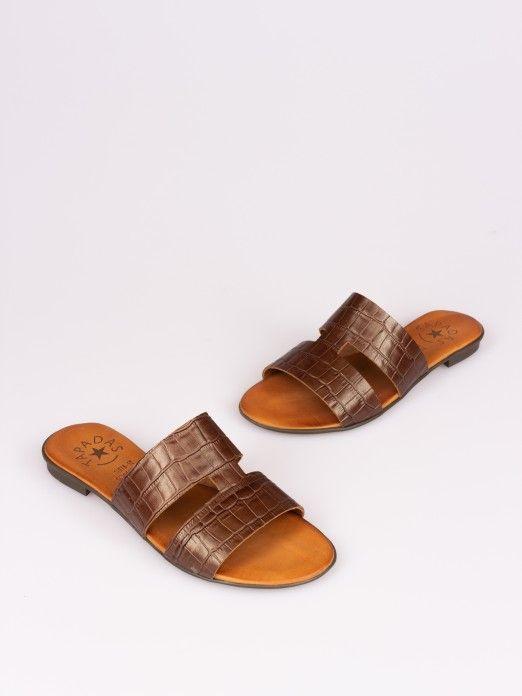 Side Cutout Croco Slipper