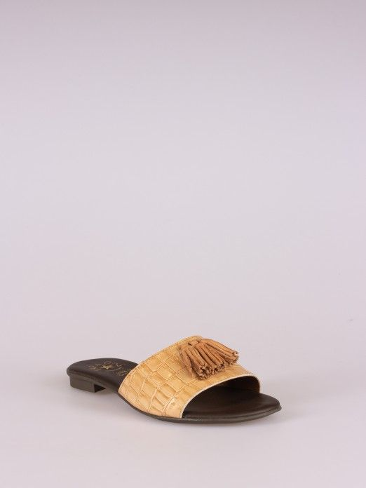 Croco Leather Slipper with Tassel