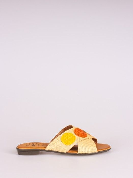 Crossed Raffia Multicolor Slipper