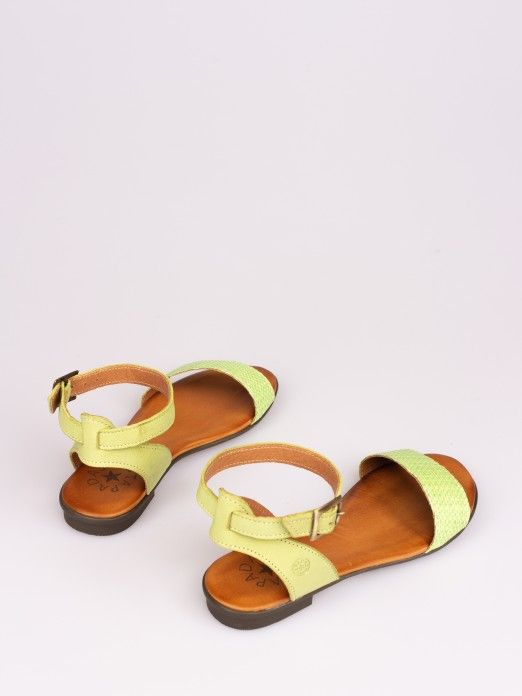 Leather and Raffia Flat Sandal