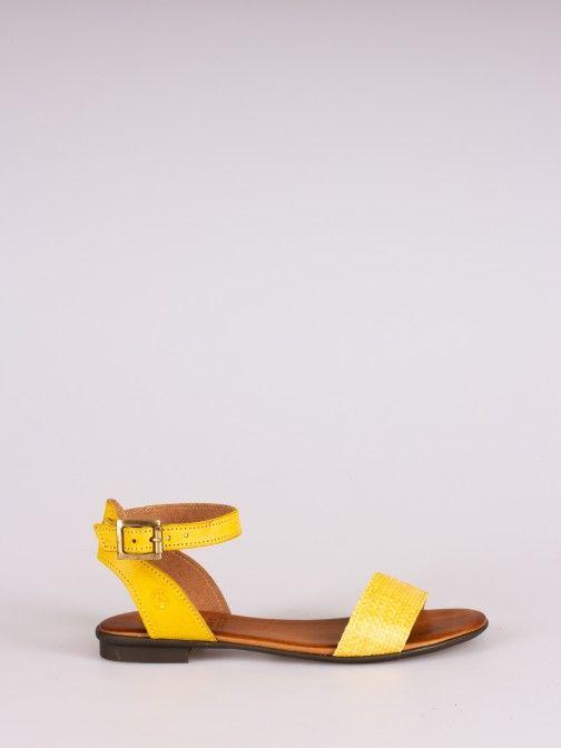 Leather and Raffia Flat Sandal