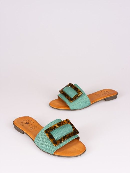 Buckle Raffia Slipper
