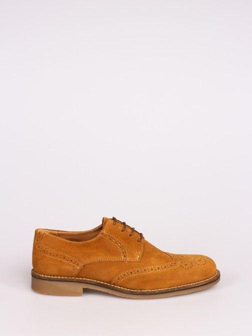 Sapato de Camurça Sola Pespontada