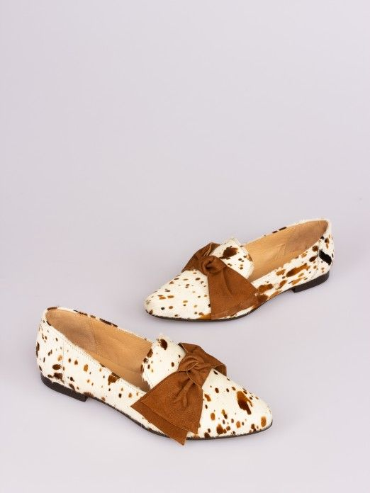 Cow-Print Bow Moccasin