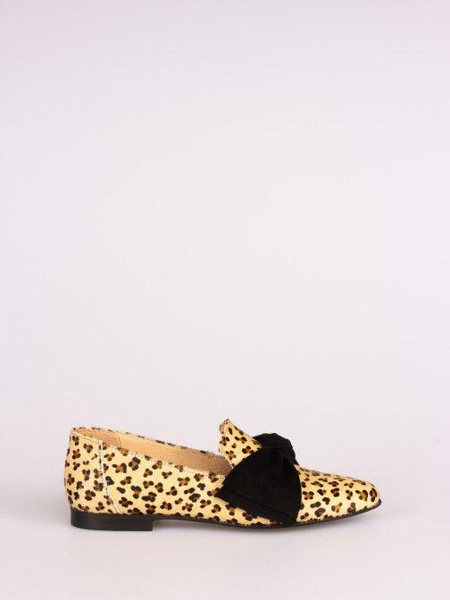 Mocassim Padrão Leopardo com Laço