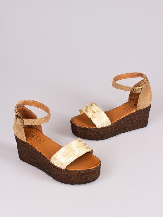 Shiny Raffia and Suede Wedge Sandal