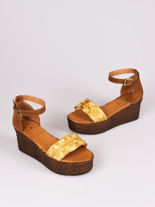 Shiny Raffia and Suede Wedge Sandal