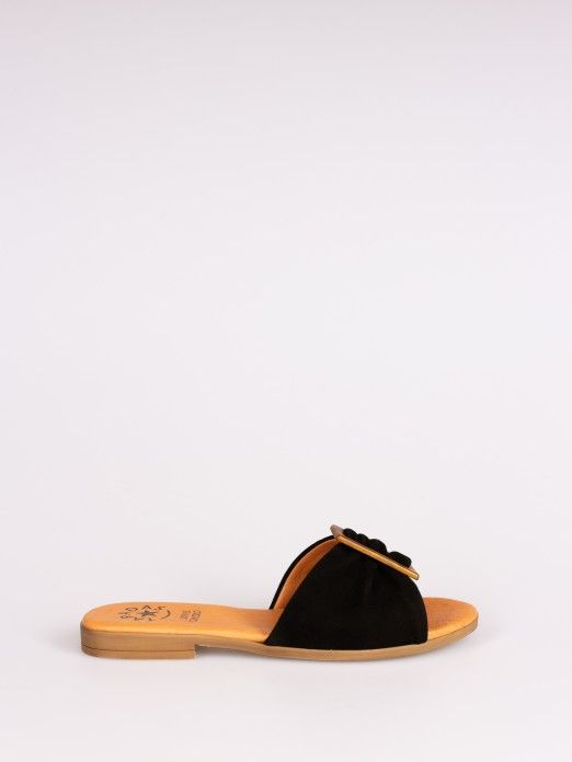 Suede Slipper with Buckle