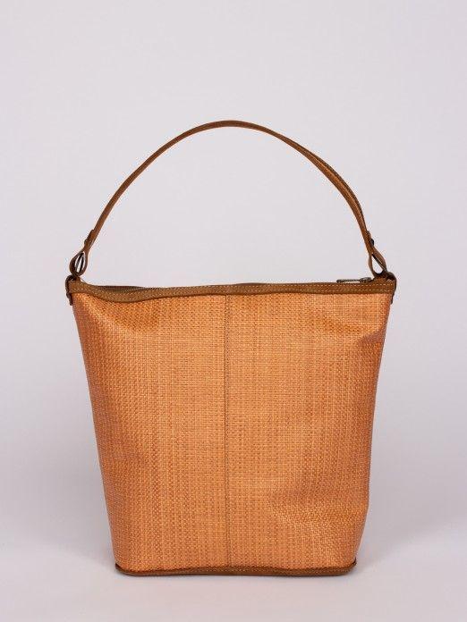 Suede and Raffia Shoulder Bag
